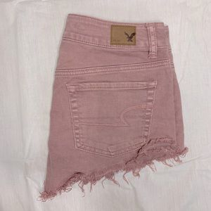 American Eagle festival pink distressed shorts